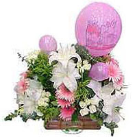 balon ve çiçeklerle tanzim  Konya çiçek yolla