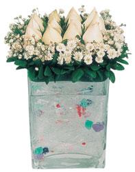 Konya İnternetten çiçek siparişi  7 adet beyaz gül cam yada mika vazo tanzim