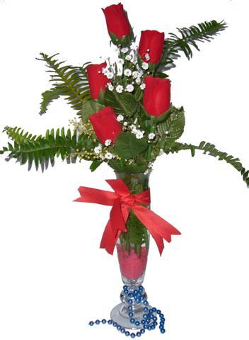 Konya çiçek online çiçek siparişi  5 adet kirmizi gül ve cam tanzim