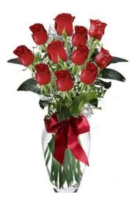 11 adet kirmizi gül vazo mika vazo içinde  Konya çiçek siparişi sitesi