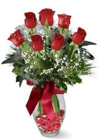 Konya çiçekçi telefonları  7 adet kirmizi gül cam vazo yada mika vazoda