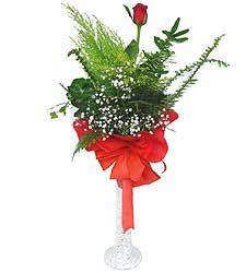 Konya internetten çiçek satışı  Cam vazoda masum tek gül