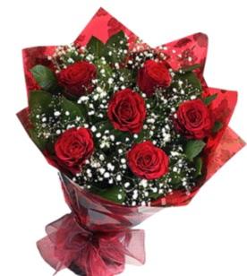 6 adet kırmızı gülden buket  Konya uluslararası çiçek gönderme