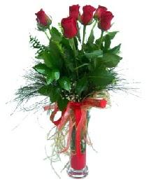 vazo içerisinde 5 kırmızı gül  Konya cicekciler , cicek siparisi