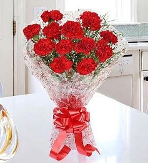 12 adet kırmızı karanfil buketi  Konya hediye sevgilime hediye çiçek