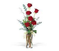 Konya çiçek yolla , çiçek gönder , çiçekçi   cam yada mika vazoda 6 adet kirmizigül