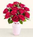 Konya çiçek yolla , çiçek gönder , çiçekçi   10 kirmizi gül cam yada mika vazo tanzim