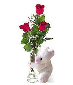 oyuncak ve 3 adet gül  Konya çiçek gönderme sitemiz güvenlidir