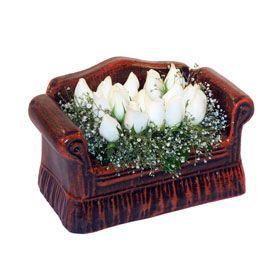 seramik içerisinde 11 gül  Konya çiçek yolla , çiçek gönder , çiçekçi