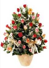 91 adet renkli gül aranjman   Konya çiçek online çiçek siparişi