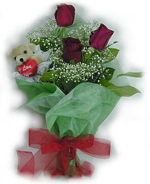 3 adet gül ve küçük ayicik buketi  Konya ucuz çiçek gönder