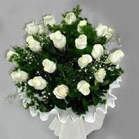 Konya çiçek yolla , çiçek gönder , çiçekçi   11 adet beyaz gül buketi ve bembeyaz amnbalaj
