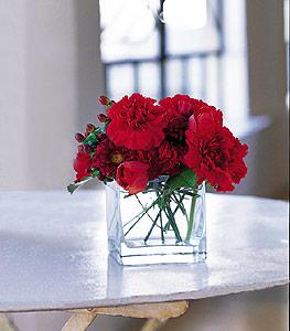 Konya online çiçekçi , çiçek siparişi  kirmizinin sihri cam içinde görsel sade çiçekler