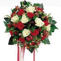 Konya online çiçekçi , çiçek siparişi  6 adet kirmizi 6 adet beyaz ve kir çiçekleri buket