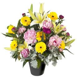karisik mevsim çiçeklerinden vazo tanzimi  Konya çiçekçi mağazası