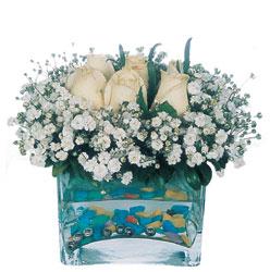 Konya İnternetten çiçek siparişi  mika yada cam içerisinde 7 adet beyaz gül