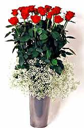 Konya ucuz çiçek gönder  9 adet kirmizi gül cam yada mika vazoda