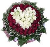Konya online çiçek gönderme sipariş  27 adet kirmizi ve beyaz gül sepet içinde