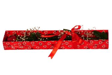 Konya kaliteli taze ve ucuz çiçekler  kutu içerisinde 1 adet kirmizi gül