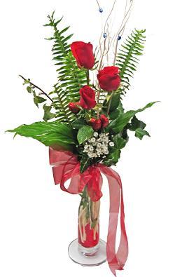Çiçek gönderin cam vazoda 3 gül çiçekleri  Konya çiçek gönderme sitemiz güvenlidir