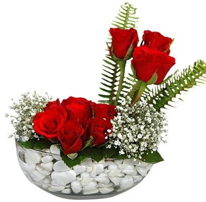 cam içerisinde 9 adet kirmizi gül  Konya çiçek satışı