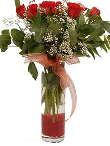 Konya çiçekçi mağazası  11 adet kirmizi gül vazo çiçegi