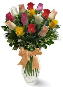 15 adet vazoda renkli gül  Konya çiçek yolla