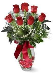 7 adet vazoda gül  Konya çiçek yolla  kirmizi gül