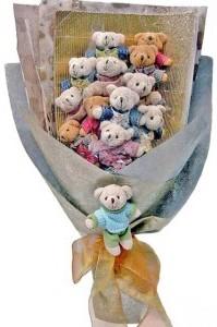 12 adet ayiciktan buket tanzimi  Konya ucuz çiçek gönder