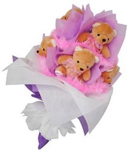 9 adet ayiciktan buket  Konya çiçekçiler