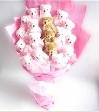 17 adet pelus ayicik buketi  Konya hediye sevgilime hediye çiçek