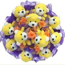 11 adet pelus ayicik buketi  Konya online çiçek gönderme sipariş