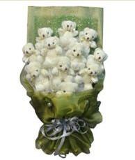 11 adet pelus ayicik buketi  Konya çiçek , çiçekçi , çiçekçilik