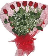7 adet kipkirmizi gülden görsel buket  Konya online çiçek gönderme sipariş
