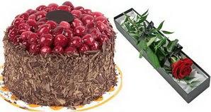 1 adet yas pasta ve 1 adet kutu gül  Konya çiçekçi mağazası