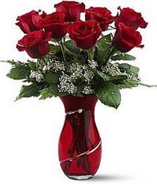 Vazo içinde 8 adet kirmizilar içinde güller  Konya çiçekçi telefonları