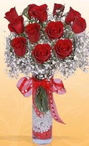 10 adet kirmizi gülden vazo tanzimi  Konya çiçek gönderme sitemiz güvenlidir