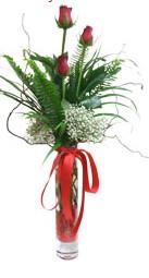 Konya çiçek gönderme sitemiz güvenlidir  3 adet kirmizi gül vazo içerisinde