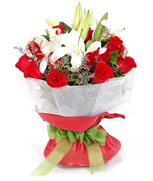 Konya çiçek yolla , çiçek gönder , çiçekçi   1 dal kazablanka 11 adet kırmızı gül buketi