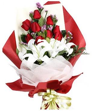 Konya çiçek gönderme  1 dal kazablankaa 9 adet kırmızı gül buketi