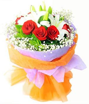 Konya çiçek online çiçek siparişi  1 dal kazablanka 7 adet kırmızı gül buketi