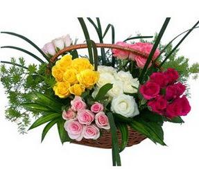 Konya online çiçekçi , çiçek siparişi  35 adet rengarenk güllerden sepet tanzimi