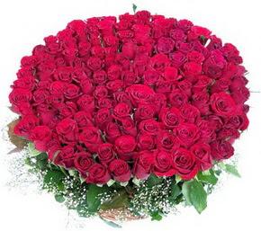 Konya 14 şubat sevgililer günü çiçek  100 adet kırmızı gülden görsel buket