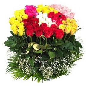 Konya online çiçek gönderme sipariş  51 adet renkli güllerden aranjman tanzimi