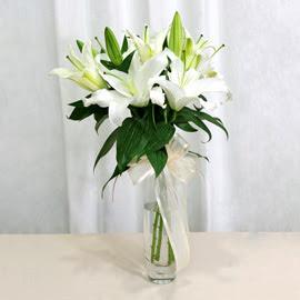 Konya internetten çiçek satışı  2 dal kazablanka ile yapılmış vazo çiçeği