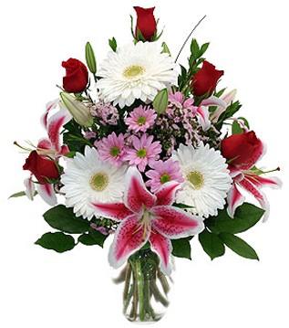 Konya online çiçek gönderme sipariş  1 dal kazablanka 5 gül ve kırçiçeği vazosu