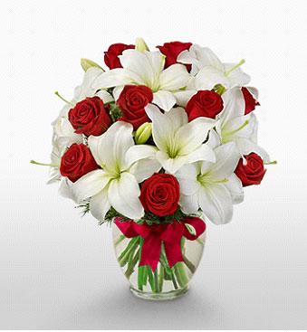 Konya çiçek yolla , çiçek gönder , çiçekçi   1 dal kazablanka 11 adet kırmızı gül vazosu