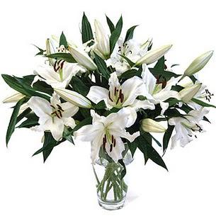 Konya kaliteli taze ve ucuz çiçekler  3 dal görsel casablanca vazo tanzimi