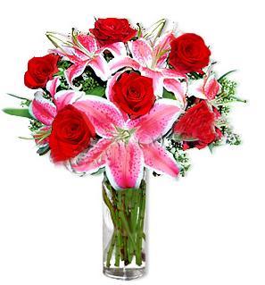 Konya çiçek servisi , çiçekçi adresleri  1 dal cazablanca ve 6 kırmızı gül çiçeği