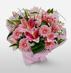 1 dal kazablanka ve kır çiçek görsel buketi  Konya çiçek yolla